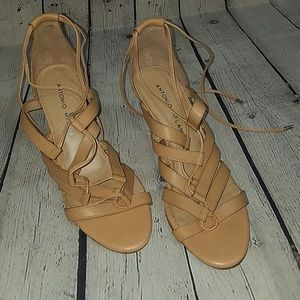 NEW ANTONIO MELANI nude 7.5 wedge sandals, $110